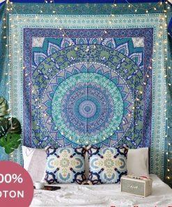 Indischer Wandbehang aus blauer Baumwolle