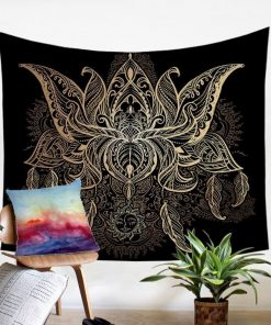 Goldener Lotus Indischer Wandbehang